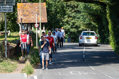 Fans arriving before the National League match between Eastleigh and Wrexham at Silverlake Stadium Eastleigh 28th August 2021. Image by Graham Scambler Photography