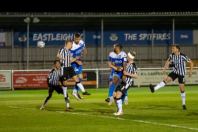 Andrew Boyce rises high to head Eastleigh's 1st goal during Eastleigh v Notts County in the National League 27/04/2021 at The Silverlake Stadium Eastleigh Hampshire. Images by Graham Scambler Photography