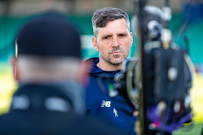 Ben Strevens Manager of Eastleigh giving an interview before the match between Eastleigh and Sutton United in the Vanarama National League at The Silverlake Stadium, Eastleigh UK on 24th April 2021. Image by Graham Scambler Photography