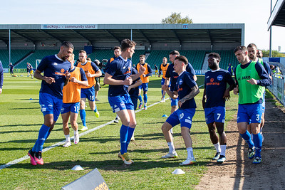 Eastleigh team warming up before the match between Eastleigh and Sutton United in the Vanarama National League at The Silverlake Stadium, Eastleigh UK on 24th April 2021. Image by Graham Scambler Photography