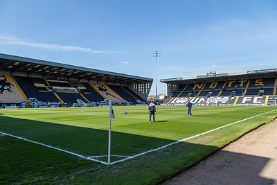 The ground before the match between Notts County and Eastleigh in the Vanarama National League at Meadow Lane, Nottingham UK on 17th April 2021. Image by Graham Scambler Photography
