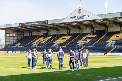 The Eastleigh team checking the pitch before the match between Notts County and Eastleigh in the Vanarama National League at Meadow Lane, Nottingham UK on 17th April 2021. Image by Graham Scambler Photography