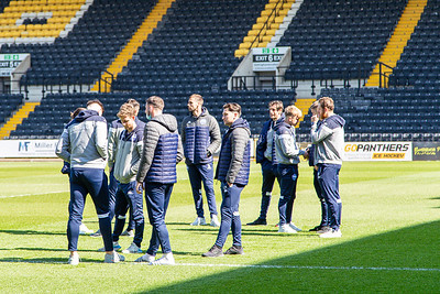 The Eastleigh players checking the pitch before the match between Notts County and Eastleigh in the Vanarama National League at Meadow Lane, Nottingham UK on 17th April 2021. Image by Graham Scambler Photography