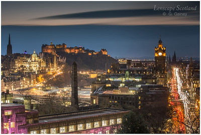 Edinburgh Castle and Princes Street from Calton Hill at dusk