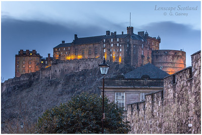 Edinburgh Castle from Heriot Place, dusk