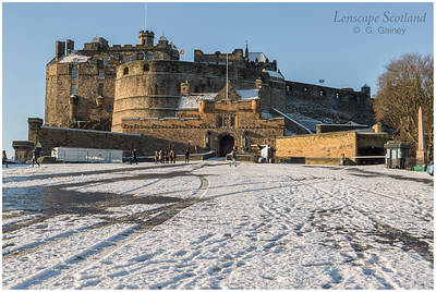 Edinburgh Castle and esplanade in the snow