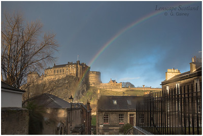 Rainbow over Edinburgh Castle, from the Vennel