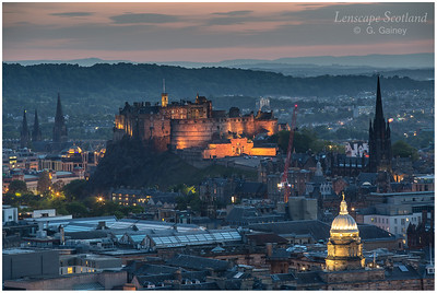 Edinburgh Castle from Salisbury Crags, dusk