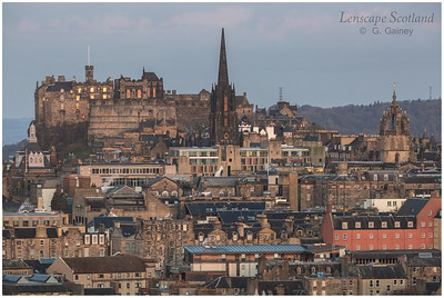 Edinburgh Castle at dawn, from Salisbury Crags