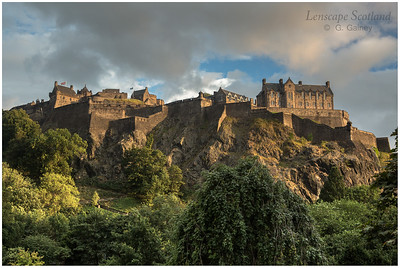 Edinburgh Castle from Princes Street, summer evening