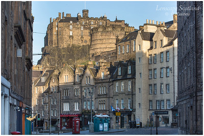 Edinburgh Castle and Grassmarket from Cowgatehead, early morning