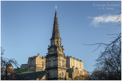 Saint Cuthbert's Church spire and Edinburgh Castle from Lothian Road