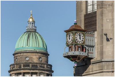 West Register House dome and the Binns Corner clock
