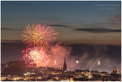 Fireworks over Edinburgh Castle from Holyrood Park (1)