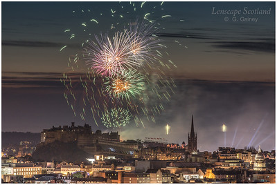 Fireworks over Edinburgh Castle from Holyrood Park (2)
