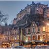 Edinburgh Castle from the Grassmarket, dusk