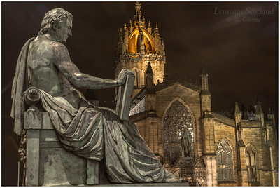David Hume statue and high kirk of St. Giles, High Street