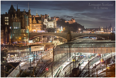 North Bridge and Waverley Station from Regent Road, dusk