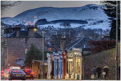 Pentland Hills and Hillend Ski Centre from Morningside