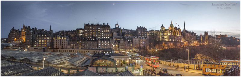 Old Town panorama from Princes Street at dusk