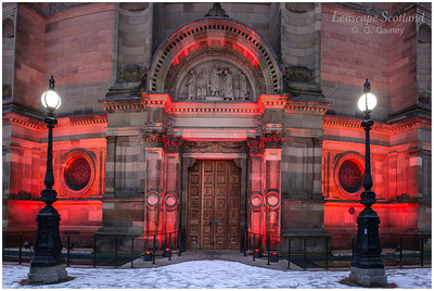 McEwan Hall door and lamps, Bristo Square