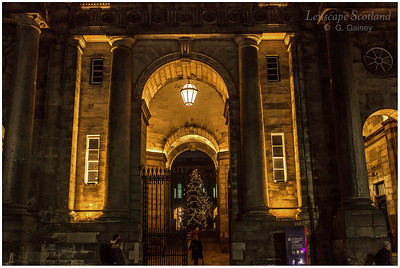 Old College entrance archway, South Bridge, with Christmas tree