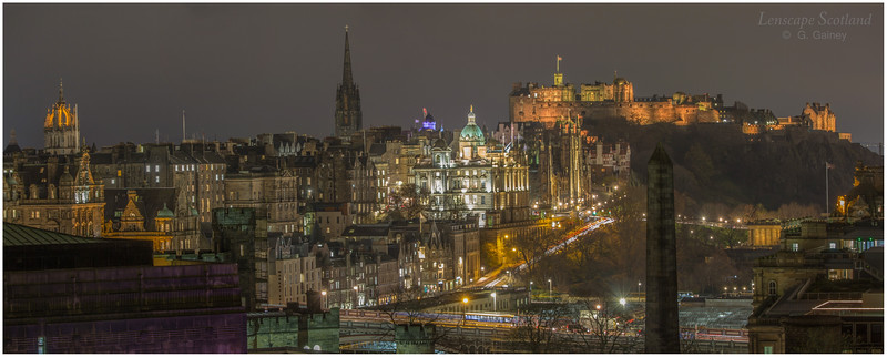 Edinburgh Castle and Old Town night-time panorama from Calton Hill (1)