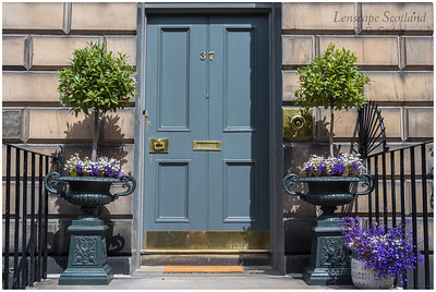 Grey planters and door, Heriot Row