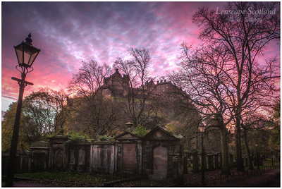 Edinburgh Castle from St Cuthberts graveyard at dawn