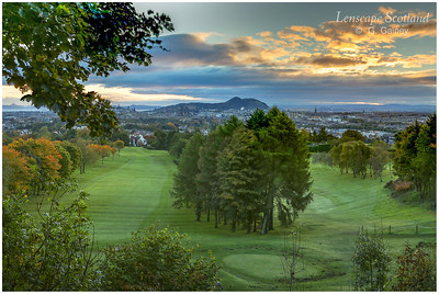 Early morning view to Arthur's Seat from Corstorphine Hill