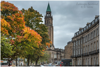 Atholl Crescent and Charlotte Chapel spire, with trees in autumn colour