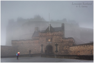 Edinburgh Castle in the mist, from the Castle Esplanade