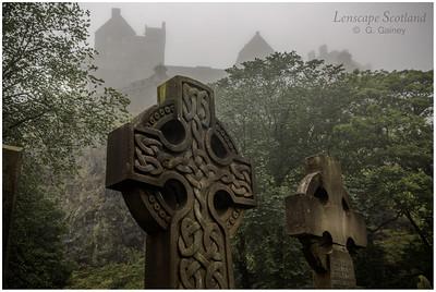 Edinburgh Castle from Saint Cuthbert's graveyard