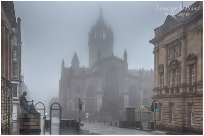 Saint Giles Cathedral and David Hume statue in the mist (3)