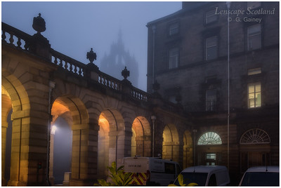 City Chambers quadrangle and the spire of St Giles Cathedral in the mist