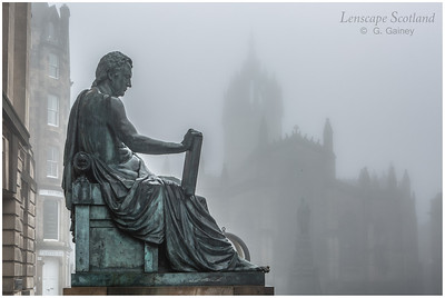 Saint Giles Cathedral and David Hume statue in the mist (1)