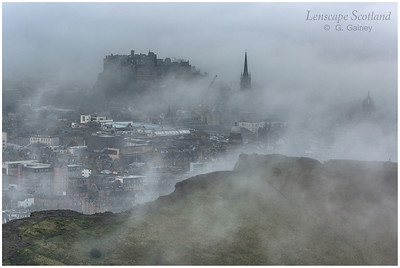 Haar clearing over Edinburgh Castle - the view from Arthur's Seat