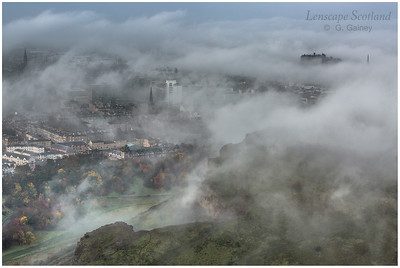 Haar clearing over central Edinburgh - the view from Arthur's Seat
