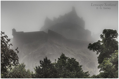 Edinburgh Castle in the mist, from Princes Street Gardens (1)
