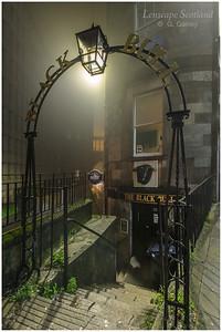 Black Bull steps, Leith Street, in the mist