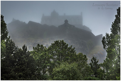 Edinburgh Castle in the mist, from Princes Street Gardens (2)