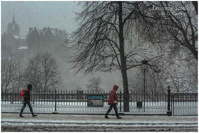 Snow falling in Princes Street