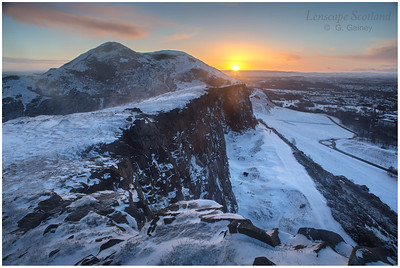 Winter sunrise over Arthur's Seat, Holyrood Park