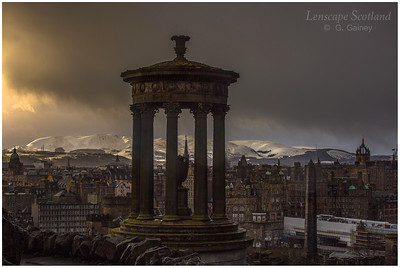 Pentland Hills under snow, from Calton Hill