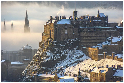 Edinburgh Castle and the spires of St. Mary's Cathedral from Salisbury Crags