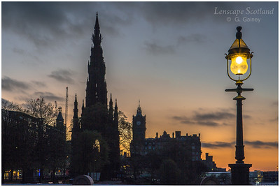 Dawn breaking over Princes Street