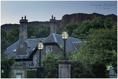 Holyrood Road cottage and Salisbury Crags 1