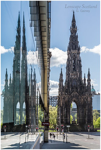Scott Monument window reflection