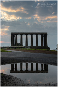 National Monument on Calton Hill, puddle reflection