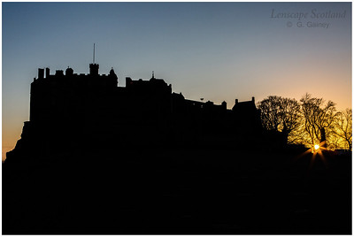 Edinburgh Castle at sunset, from the esplanade